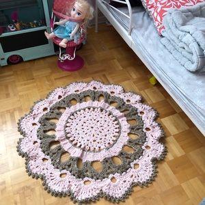 Hand crocheted mat for little girl's room